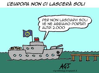 migranti, europa, satira vignetta