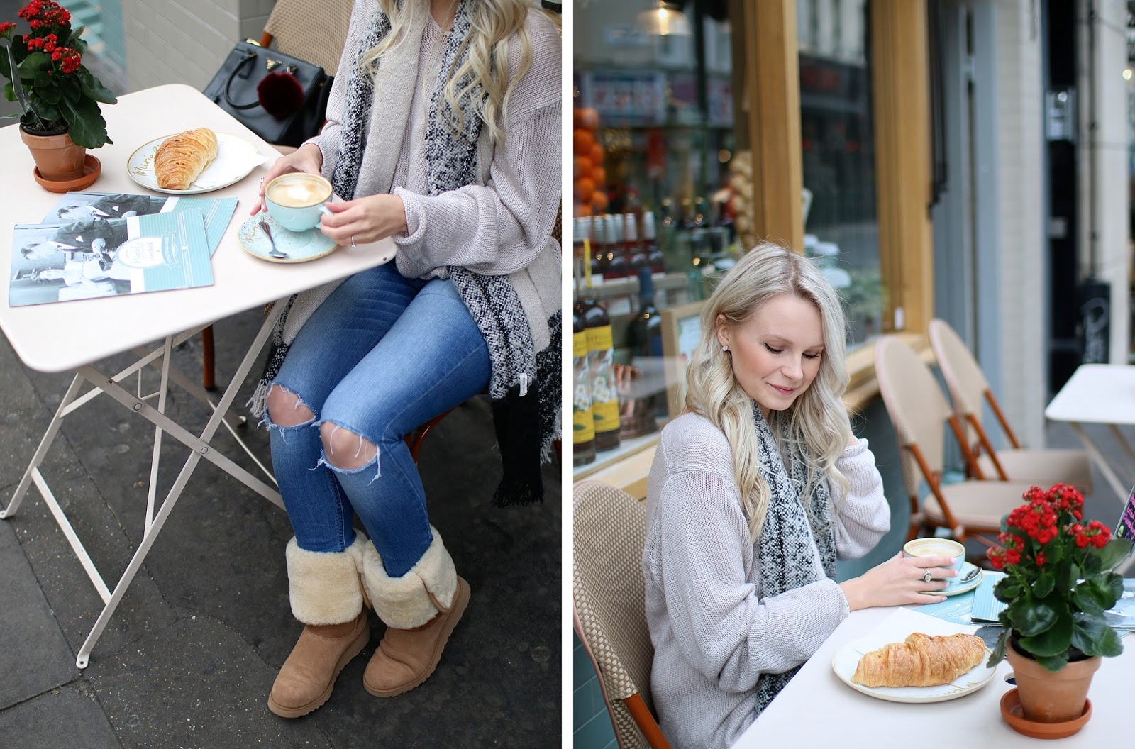 a girl wearing ripped jeans a fuzzy ugg boots at a coffee shop in london
