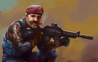 Realistic painting of Super Mario Bros with gun badass