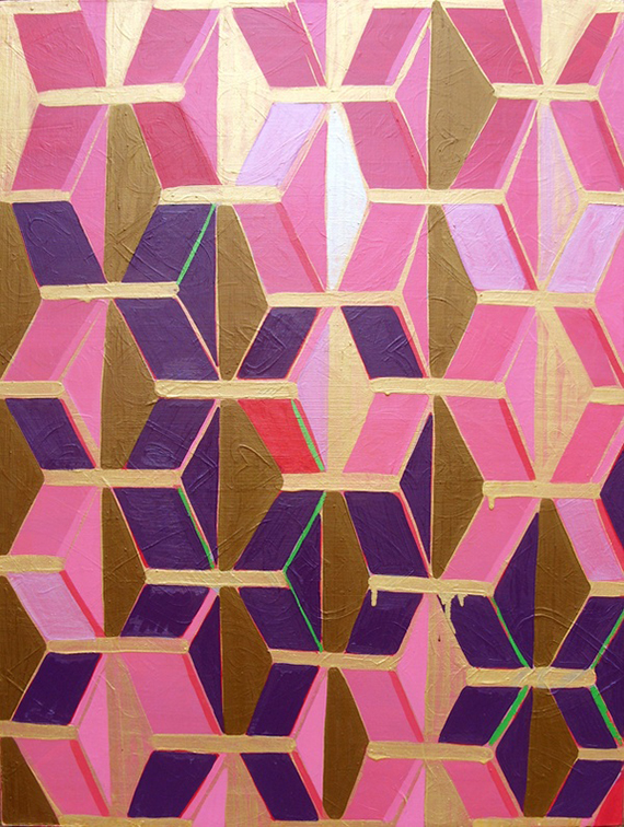 purple geometric painting by luli sanchez