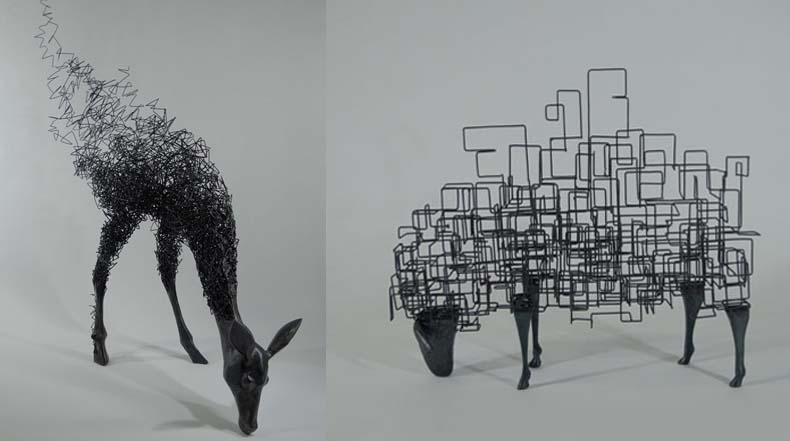 Esculturas de animales desintegrandose en el aire