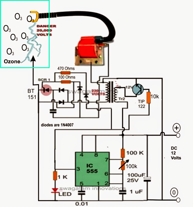 ozone water air sterilizer circuit electronic circuit projects the arcing be introduced inside any chamber wherein the intended materials or ingredients be placed and the unit switched on for initiating the