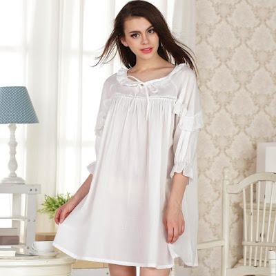 Model Baju Tidur Bahan Katun Jepang Warna Putih