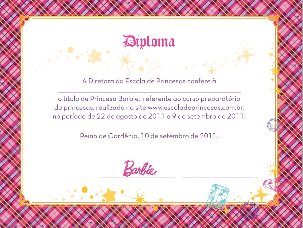 The word Barbie: Diplomas Barbie Escola de Princesas