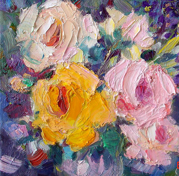 Oil Painting Yellow And Pink Roses
