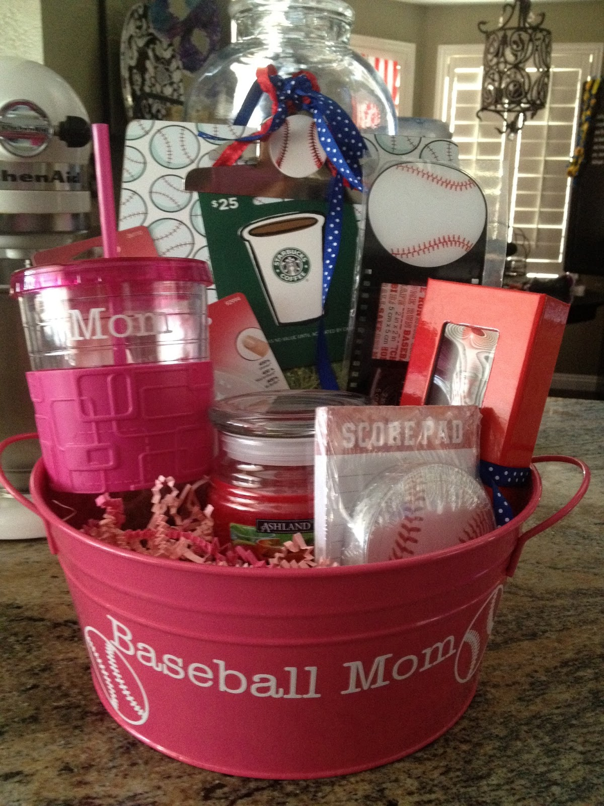 Three crafty cousins team mom gift basket im blogging from the t ball field today so i thought i would share a quick and easy diy baseball themed gift basket our league has a raffle every year negle Images