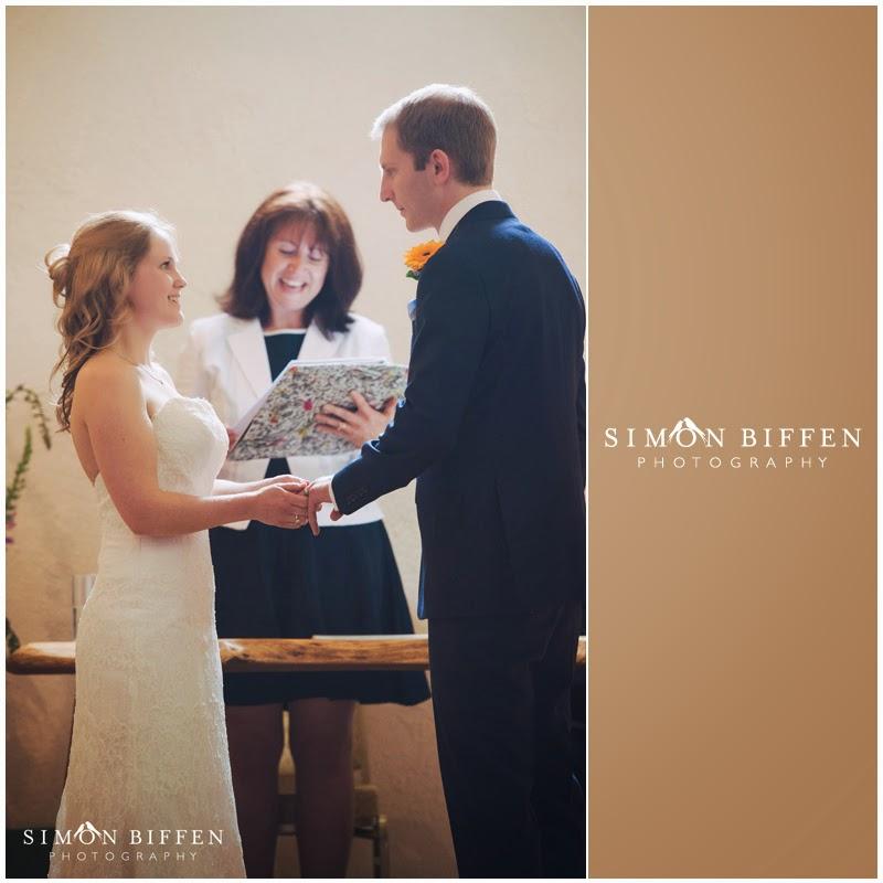 Wedding ceremony at Corn Barn Devon