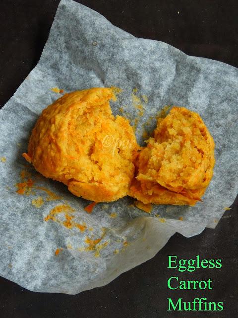 Eggless Butterless Carrot Muffins