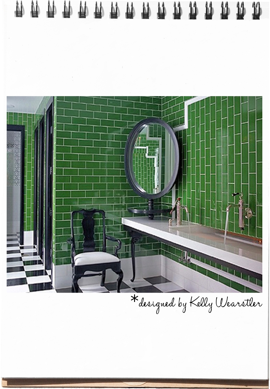 Kelly Wearstler Green Lobby Bathroom