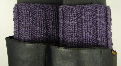 knit ribbed boot cuffs purple
