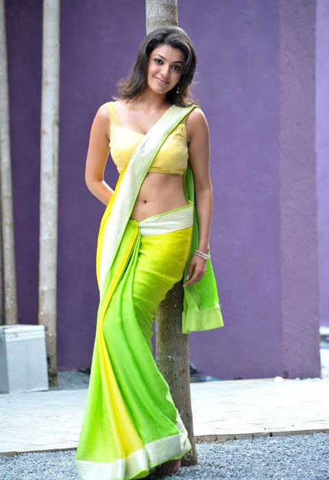 kajal agarwal test saree in business man photo gallery