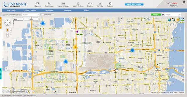 TSO Mobile's Fleet Management system's mapping screen