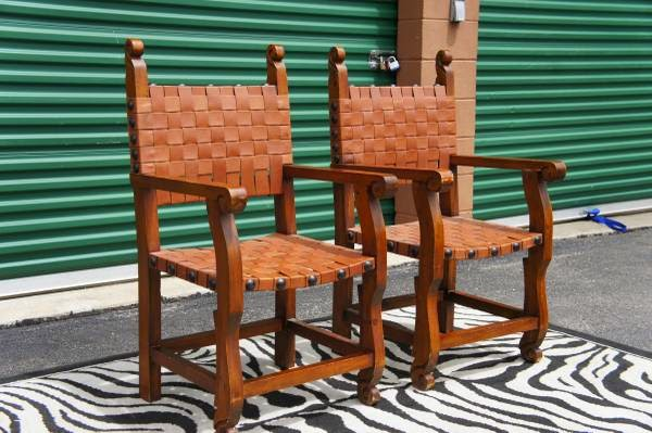 Set Of 2 Gothic Woven Leather Strap Chairs Fit For A King U0026 Queen!   $245  (SE Aurora)