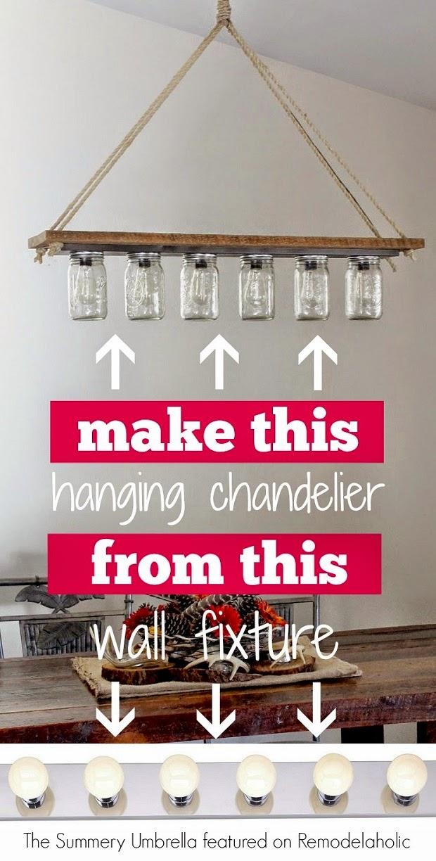 DIY lampara con botes de cristal vintage