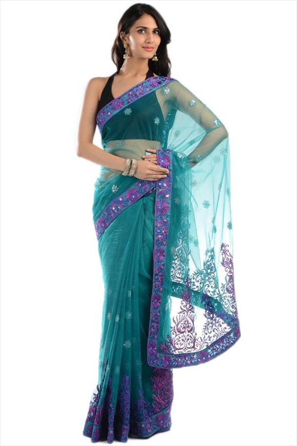 Mint Net Saree