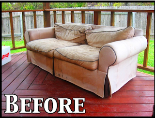 Took an old smelly couch, stripped it and made it into an outdoor couch