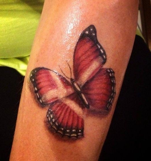 Red butterfly on leg1