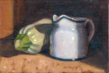 Oil painting of a small white porcelain milk jug casting a shadow on a large white zucchini.