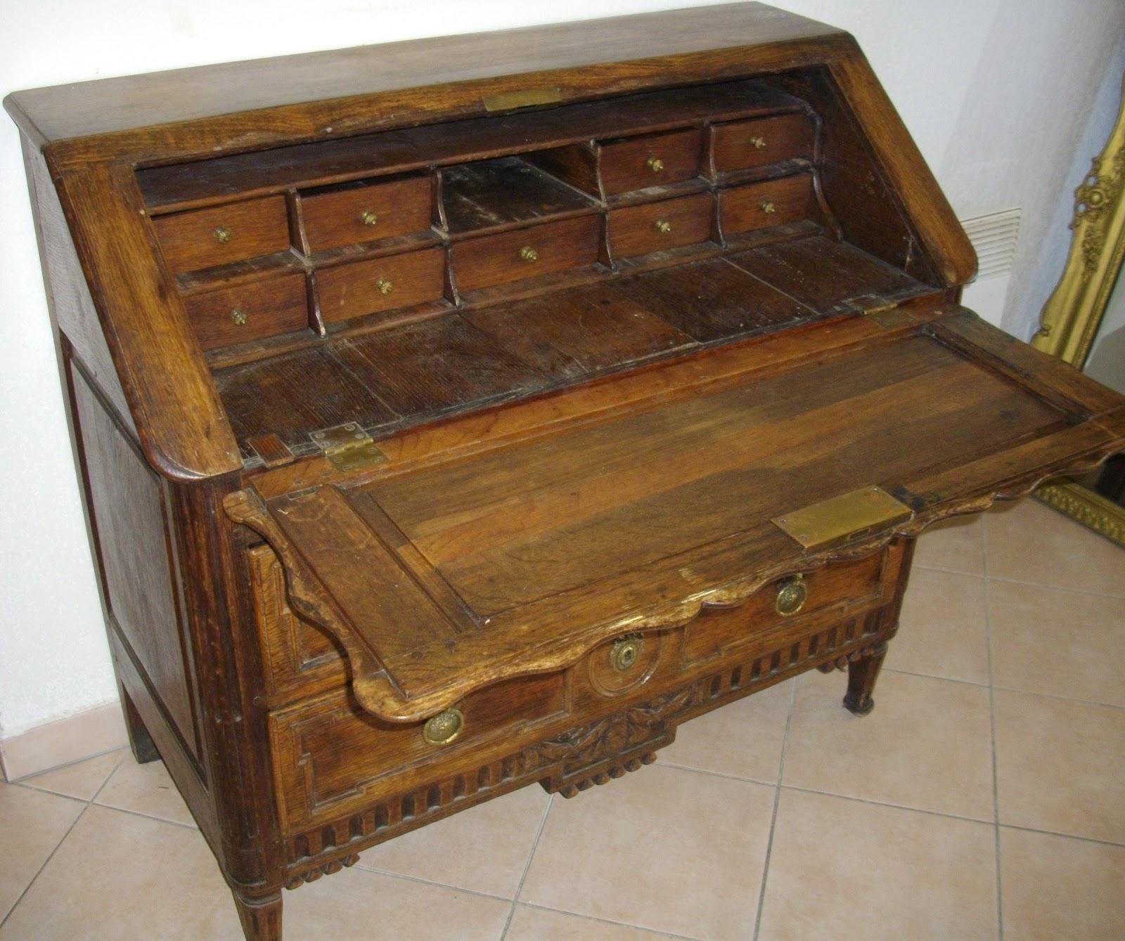 meuble ancien bureau pente secr taire dos d 39 ane a secret. Black Bedroom Furniture Sets. Home Design Ideas