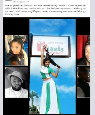 Miss integrity South East celebrates birthday with a Nice Facebook post