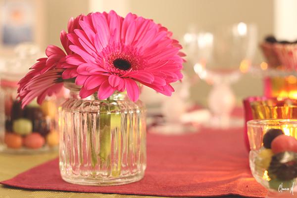 table pâques gerbera rose clemence m