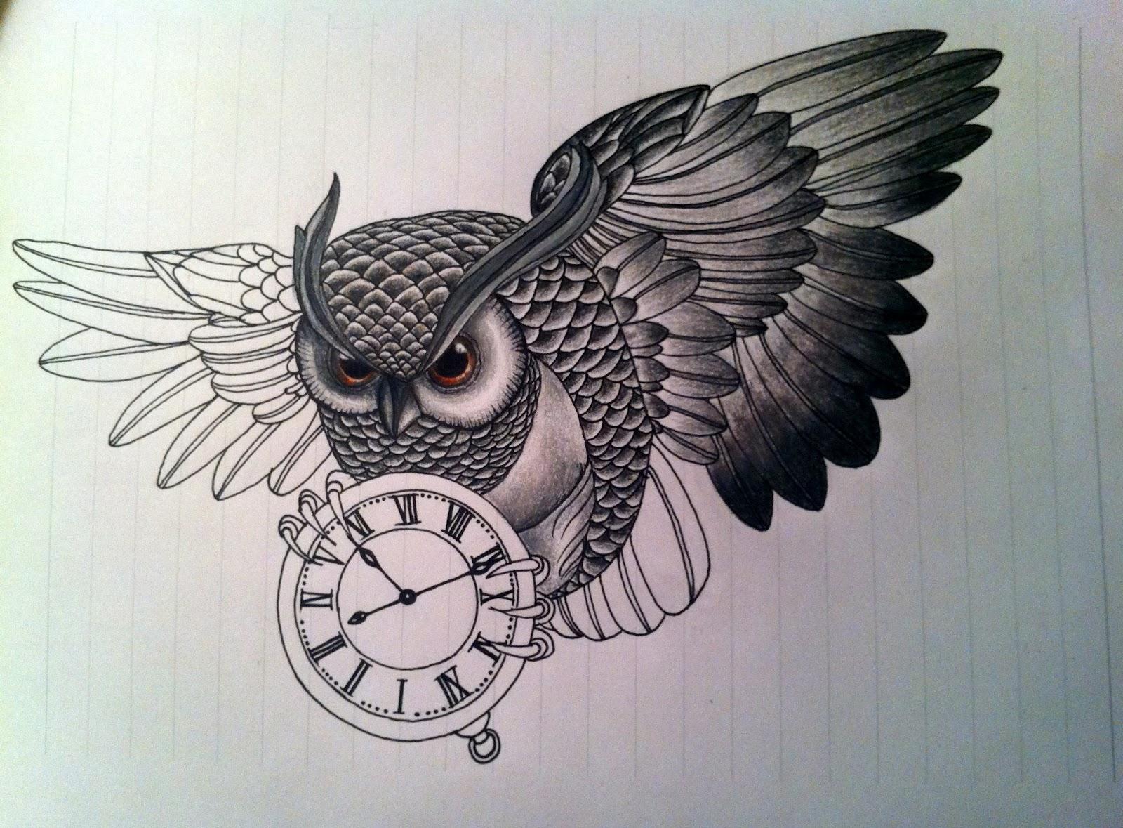 Рисунки карандашом совы для тату