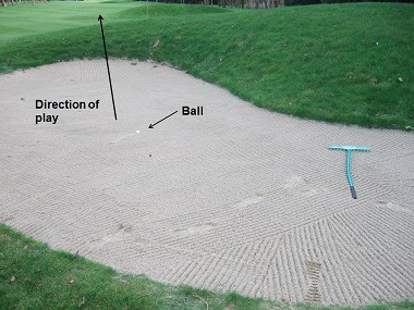 After playing your Sand shot and have raked the trap....?