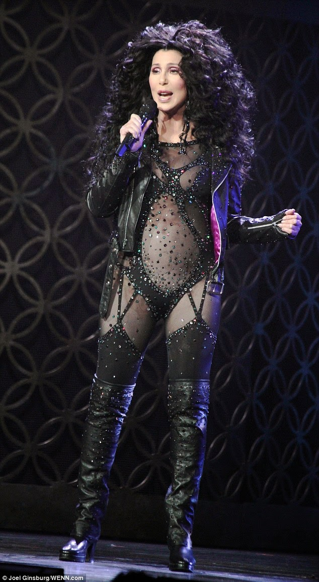 Cher in her black body-stocking on her 'Dressed To Kill Tour'