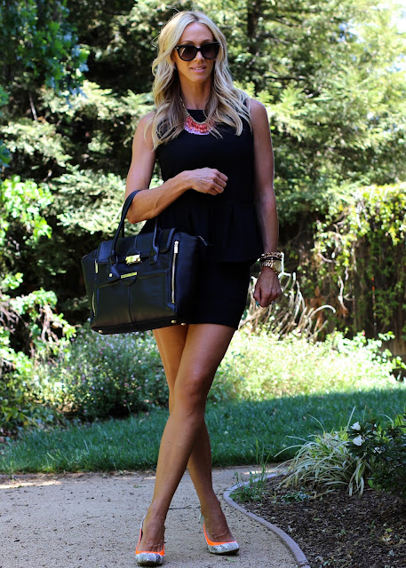 black peplum top black skirt