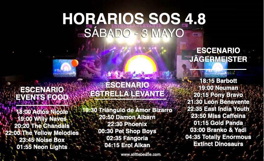 Horarios de los conciertos del sábado del SOS 4.8 2014