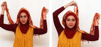Cara memakai jilbab segitiga modern 2