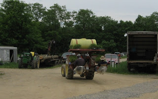 Tractor loaded with work