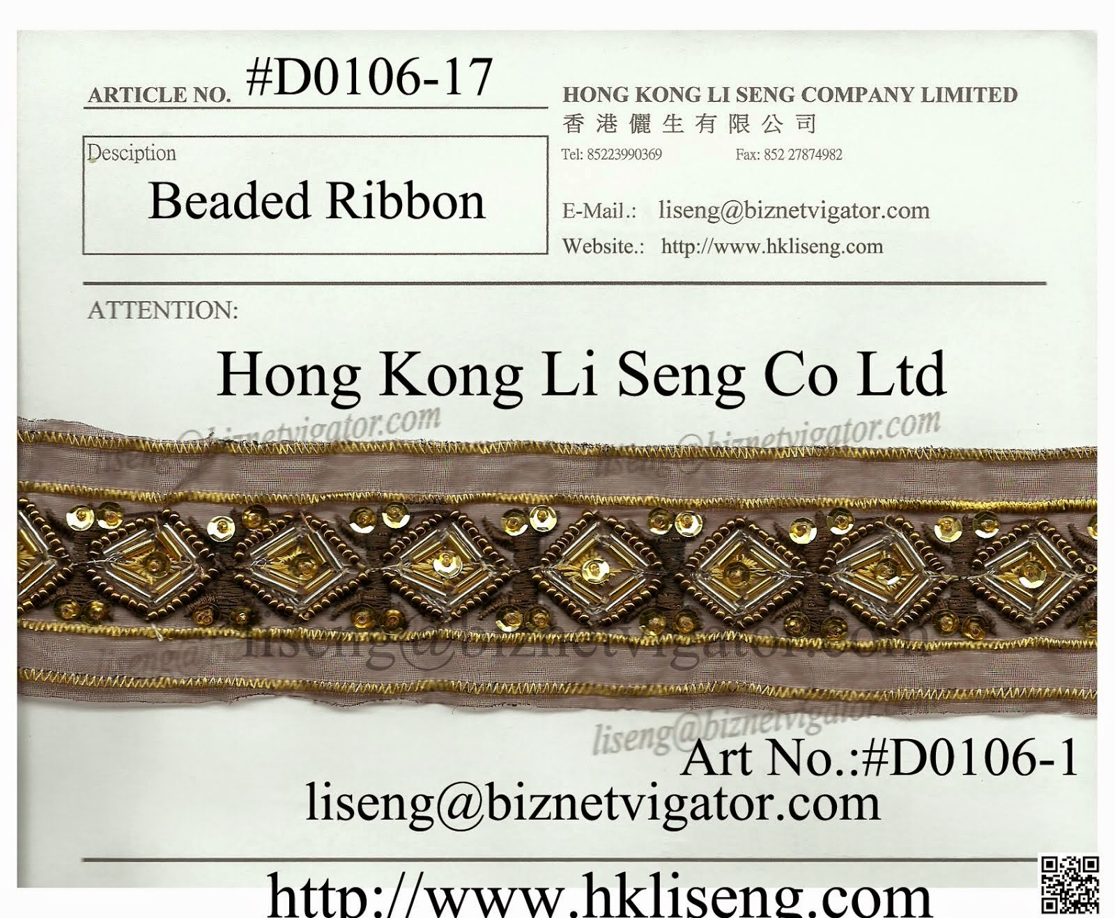 Beaded Ribbon Factory - Hong Kong Li Seng Co Ltd