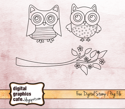 Free scrapbook owl sketch from Digital Graphics Cafe