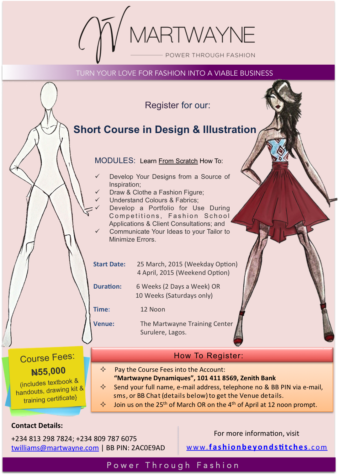 Register for the Short Course in Design & Illustration; Start Dates: 25 March & 4 April, 2015