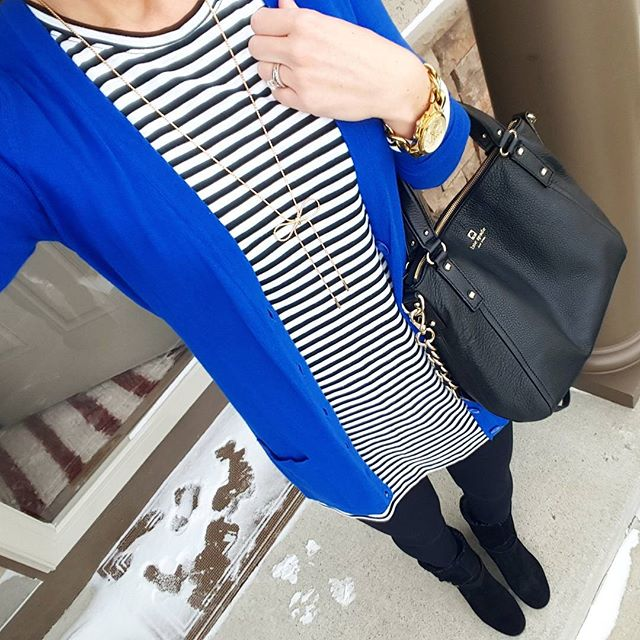 Old Navy Striped Tunic Top (similar) // Old Navy Boyfriend Cardigan // Zella Live In Leggings // Nine West Boots (similar) // Kate Spade Pine Street Small Kori - on sale for $159, regular $398! // Michael Kors Runway Watch // Purple Peridot Bow Necklace - only $15!