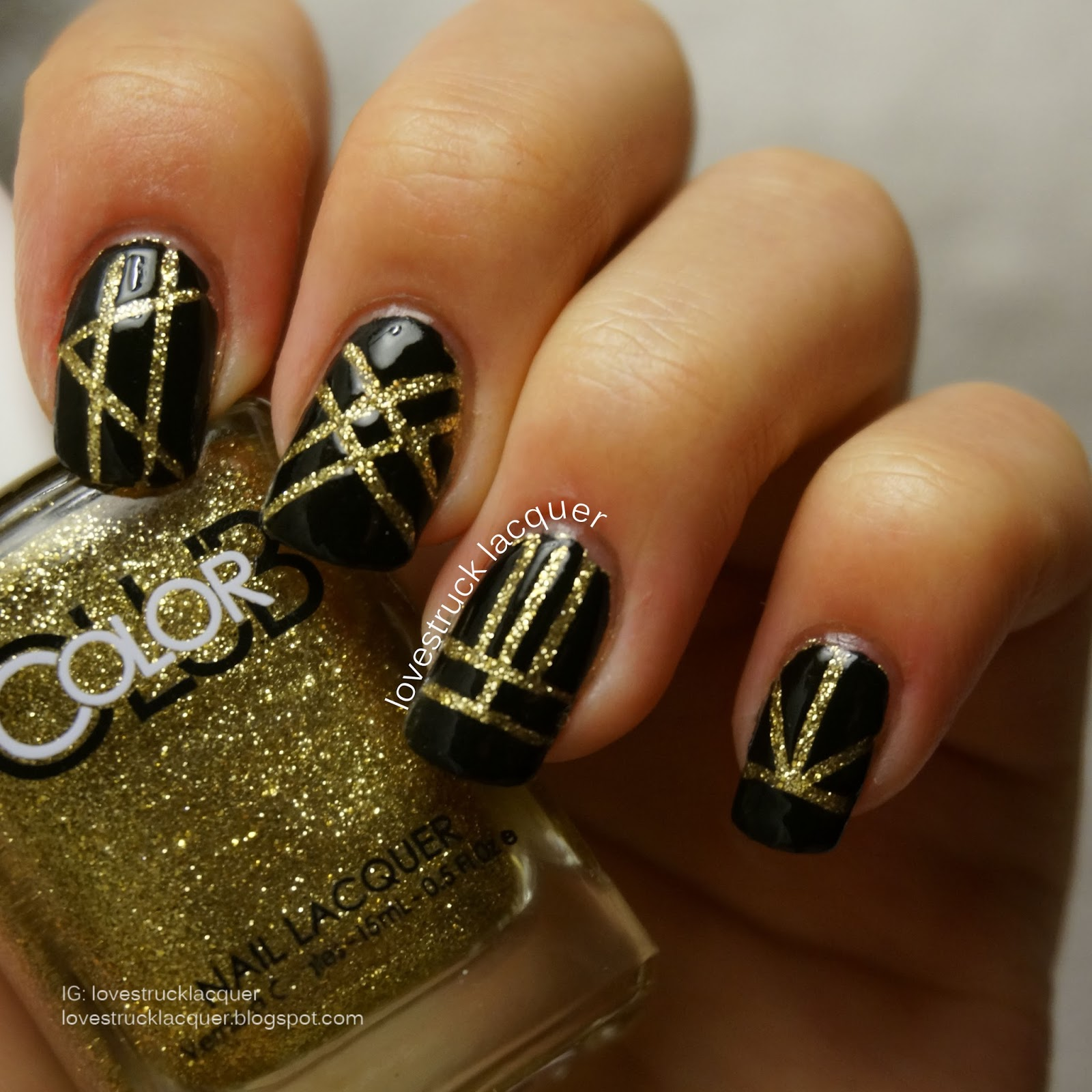 Gold Striping Tape Nail Art: Gold And Black Striping Tape