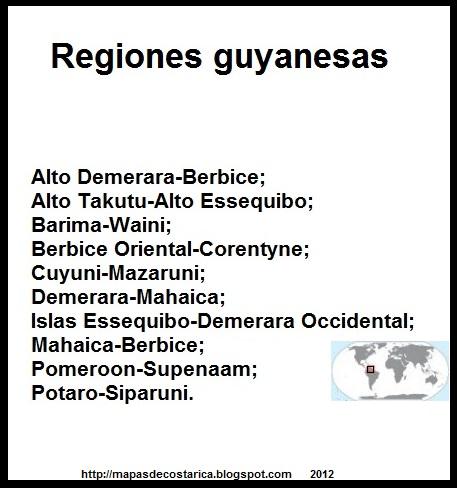 Nombre de las regiones de GUYANA