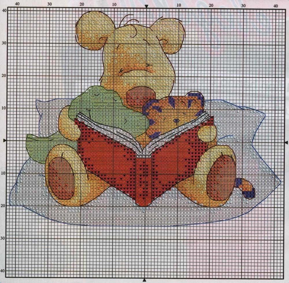 Professione donna schema punto croce l 39 orsetto con gli amici for Schema punto croce orsetto