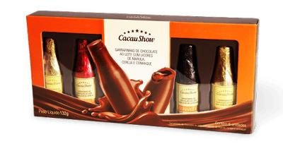 Cacau Show festival de inverno garrafinhas de chocolates recheadas de licor conhaque amarula e cereja