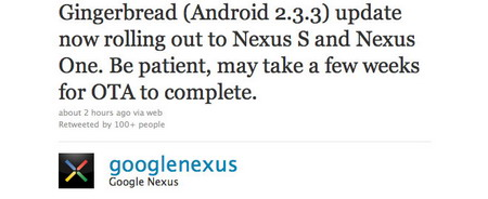 Android 2.3.3 firmware update for Google Nexus One and Nexus S rolling out