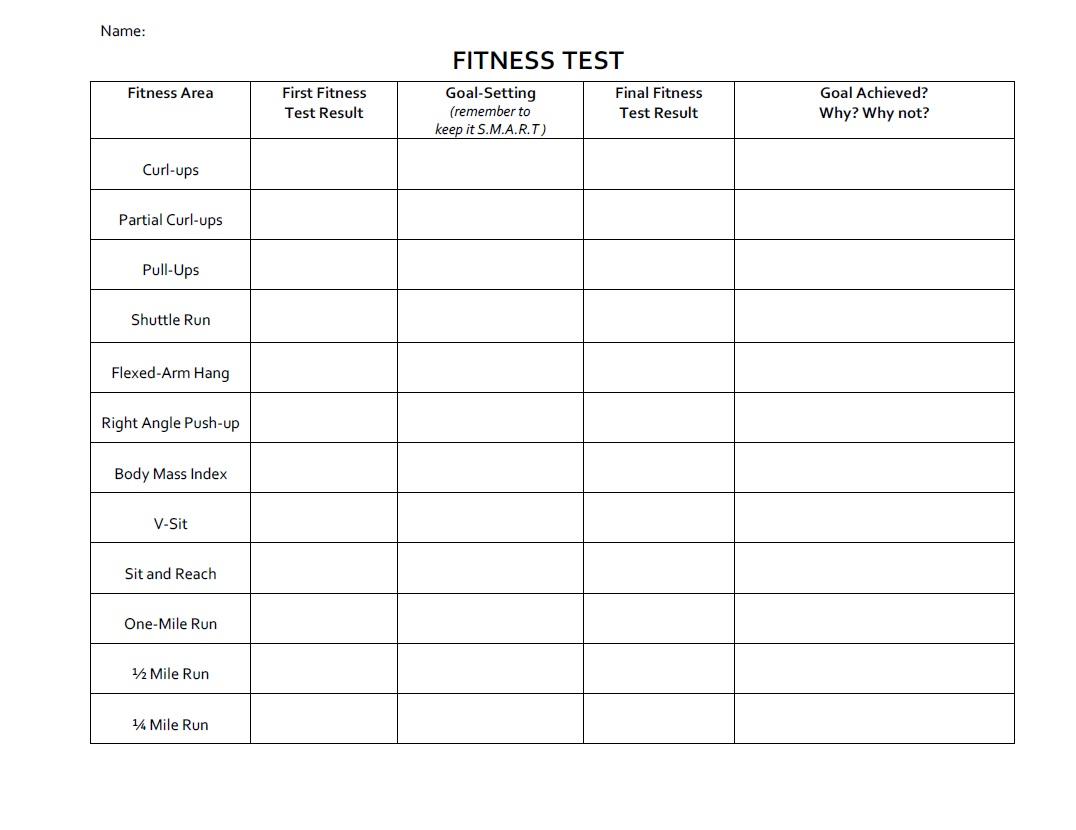 PPZ30 Health for Life: Fitness & SMART goal setting worksheets
