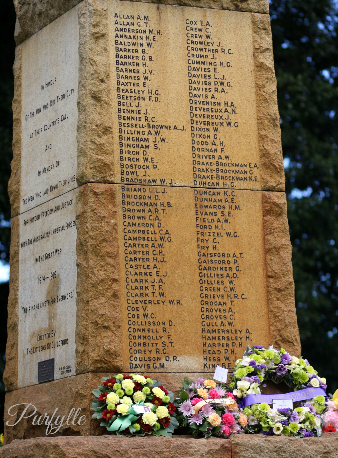 Fallen Soldiers Names on the Memorial