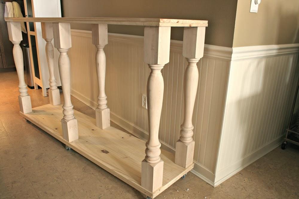 Unfinished wood, diy kitchen island, narrow kitchen island, kitchen console, annie sloan stripped paint finish
