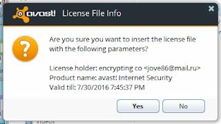 License Key Avast Sampai 2016 Terbaru