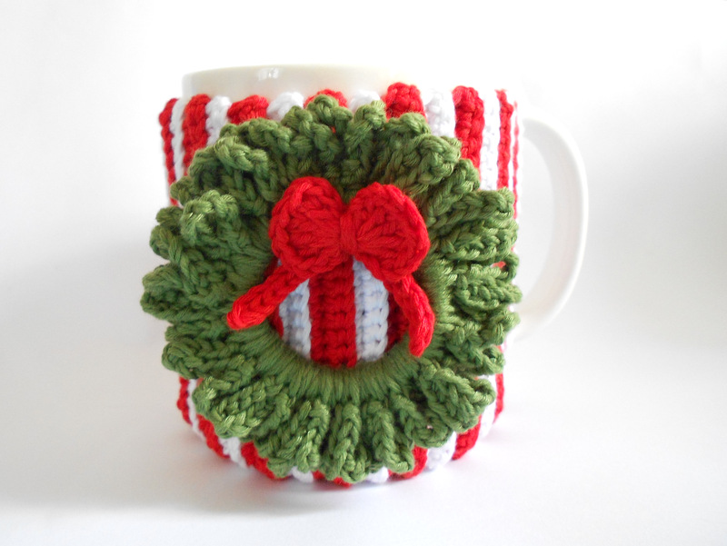 Firefly Crochet Christmas Candy Cane Wreath Cup Cozy With