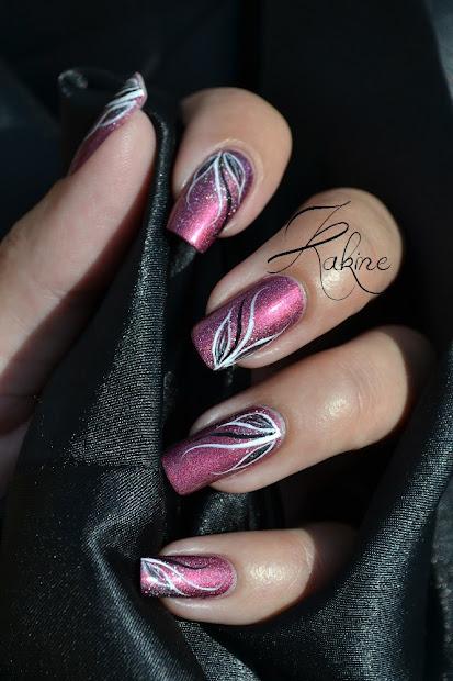 kakine nail art white & black