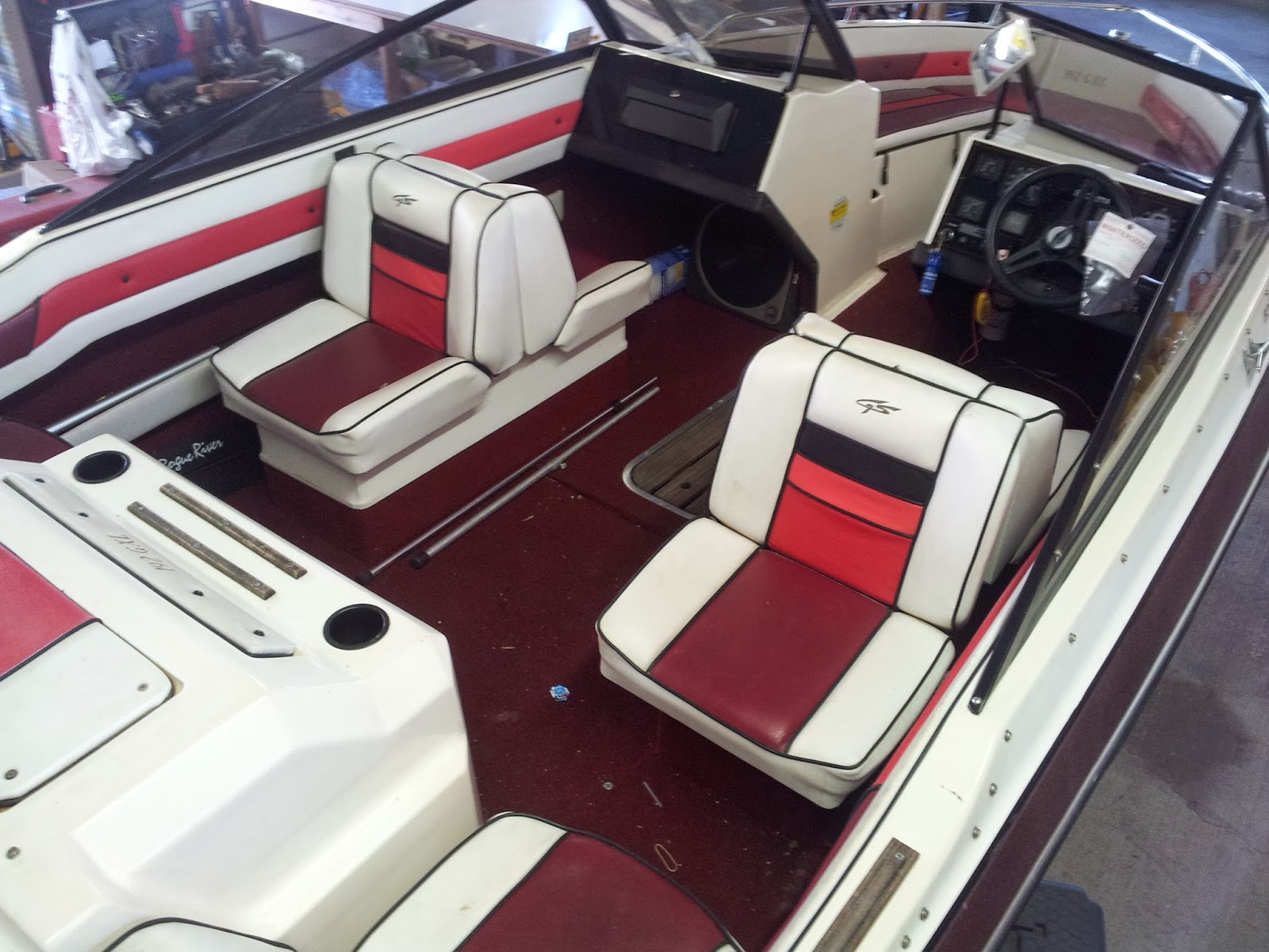 Homestyle Custom Upholstery And Awning Before During And After Pictures Of A Complete Boat