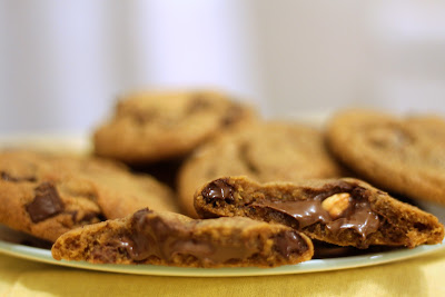 Nutella and hazelnut-stuffed browned butter chocolate chunk cookies