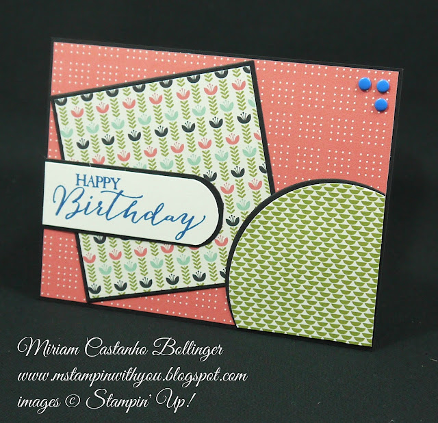 Miriam Castanho Bollinger, #mstampinwithyou, stampin up, demonstrator, mm, birthday card, pretty petals dsp, butterfly basics stamp set, big shot, circle collections framelit, squares collection, su